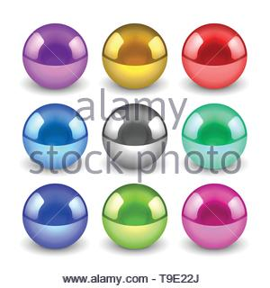 3d shiny metallic balls set - Stock Photo