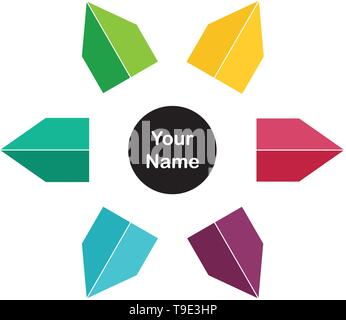 Flower arrow multiple color compass logo template. - Stock Photo