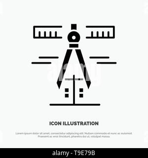 Calipers, Geometry, Tools, Measure Solid Black Glyph Icon - Stock Photo
