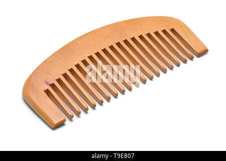 Small Wood Hand Comb Isolated on White Background. - Stock Photo