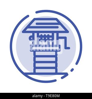 Agriculture, Farm, Farming, Well Blue Dotted Line Line Icon - Stock Photo