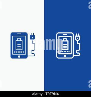 Mobile, Charge, Full, Plug Line and Glyph Solid icon Blue banner - Stock Photo