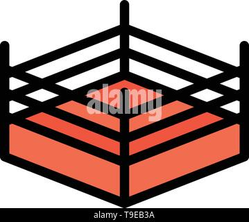 Boxing, Ring, Wrestling  Flat Color Icon. Vector icon banner Template - Stock Photo