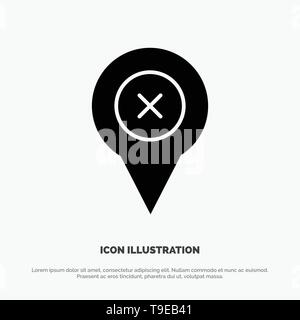 Add, Pin, Location, Map solid Glyph Icon vector - Stock Photo
