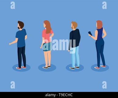 set of men and women with casual clothes and hairstyle - Stock Photo