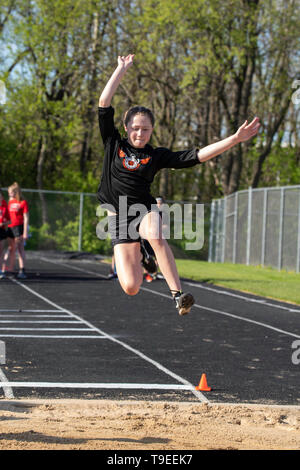 Images from a middle school track meet at Middleton, Wisconsin, USA. - Stock Photo