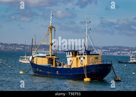 Beam Trawlers and Fishing Boats in Brixham Harbour and Quayside,Torbay,Devon.England - Stock Photo