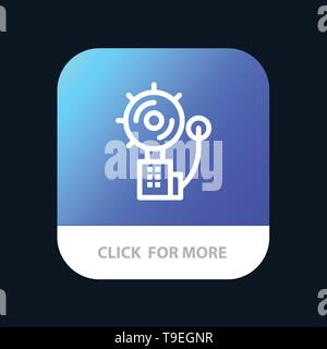 Alarm, Alert, Bell, Fire, Intruder Mobile App Button. Android and IOS Line Version - Stock Photo