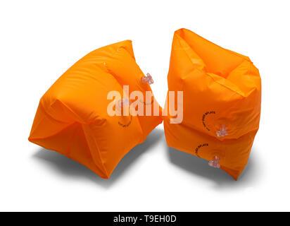 Two Orange Arm Swim Floats Isolated on White Background. - Stock Photo