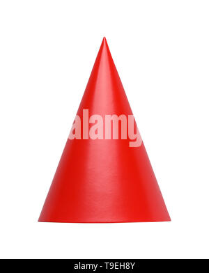 Red Cone Hat Front View Cut Out in White. - Stock Photo