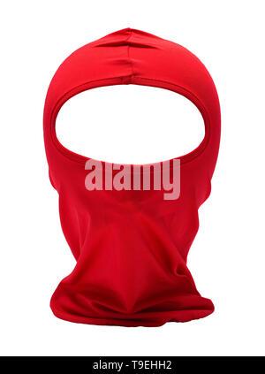 Red Ninja Mask Isolated on White Background. - Stock Photo