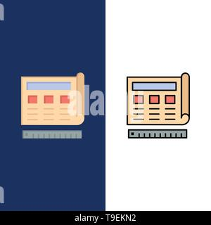 Blueprint, Blue, Print, Website, Web  Icons. Flat and Line Filled Icon Set Vector Blue Background - Stock Photo