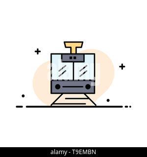 Train, Public, Service, Vehicle Business Logo Template. Flat Color - Stock Photo