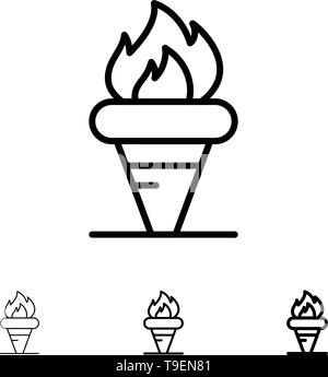 Flame, Games, Greece, Holding, Olympic Bold and thin black line icon set - Stock Photo