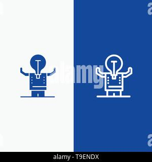 Business, Improvement, Man, Person, Potential Line and Glyph Solid icon Blue banner Line and Glyph Solid icon Blue banner - Stock Photo