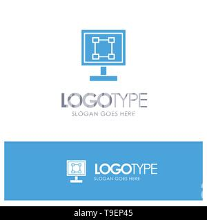 Crop, Graphics, Design, Program, Application Blue Solid Logo with place for tagline - Stock Photo