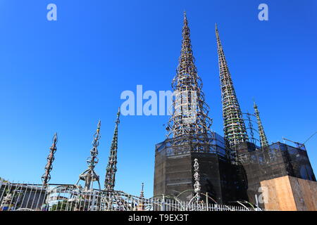 WATTS TOWERS by Simon Rodia, architectural structures, located in Simon Rodia State Historic Park, LOS ANGELES - California - Stock Photo