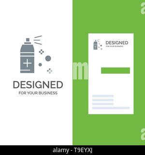 Bottle, Cleaning, Spray Grey Logo Design and Business Card Template - Stock Photo