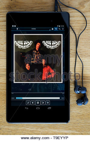 The Jimi Hendrix Experience debut studio album Are You Experienced, MP3 album art on PC tablet, England - Stock Photo
