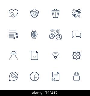 Outline vector icons for web and mobile. Editable Stroke. Icons set with different icons heart, bin, lock,gear, file, chat, music and other. - Stock Photo