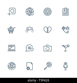 Simple different UI icons for app, sites, programs. Set with line icons. Photo, camera, microphone, laptop, flash drive, market and other. Editable - Stock Photo