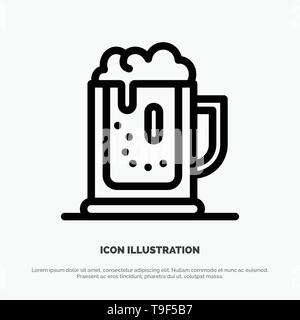 Alcohol party, Beer, Celebrate, Drink, Jar Line Icon Vector - Stock Photo