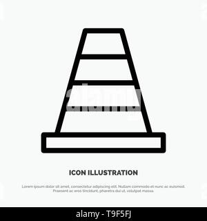 Cone, Construction, Tool Line Icon Vector - Stock Photo