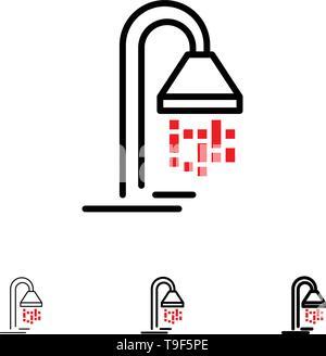 Bathroom, Hotel, Service, Shower Bold and thin black line icon set - Stock Photo