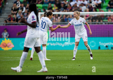 Groupama Arena, Budapest, Hungary. 18th May, 2019. UEFA Womens Champions League Final, Lyon versus Barcelona; Ada Hegerberg of Lyon celebrates scoring his goal with Dzsenifer Marozsan of Lyon for 2-0 in 14th minute Credit: Action Plus Sports/Alamy Live News - Stock Photo