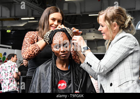 London, UK. 18th May, 2019. Model Dunia Abdi - Queen Bee is a first character from Ida Astero Welle's three-part series Mothermorphosis demo at IMATS on 18 May 2019,  London, UK. Credit: Picture Capital/Alamy Live News - Stock Photo