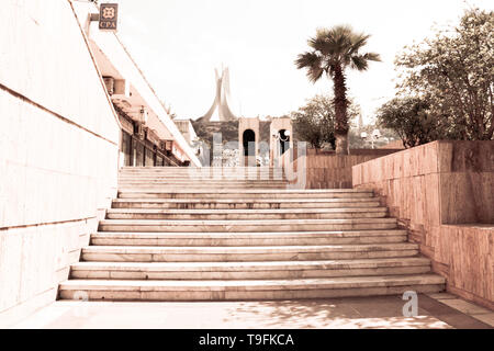 The Martyrs' Memorial is located on the heights of Algiers overlooking the neighborhood of Hamma and the Botanical Garden Hamma in Algiers, Algeria - Stock Photo