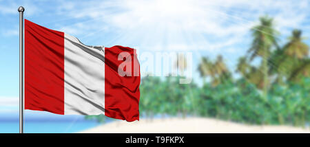 Peru flag waving in the deep blue sky background  Isolated national