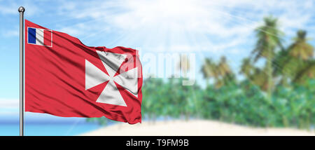 Waving Wallis And Futuna flag in the sunny blue sky with summer beach background. Vacation theme, holiday concept. - Stock Photo