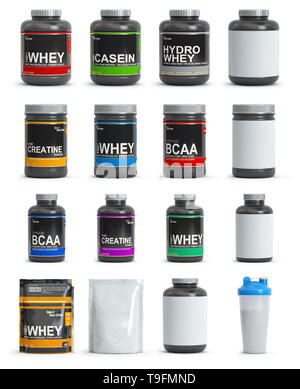 Sport nutrition containers. Set of templates of jars and packs of differnt types. Whey, bcaa and creatine. 3d illustration - Stock Photo