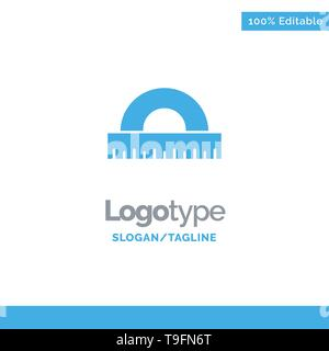 Design, Drawing, Education, Geometry Blue Solid Logo Template. Place for Tagline - Stock Photo