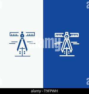 Calipers, Geometry, Tools, Measure Line and Glyph Solid icon Blue banner - Stock Photo