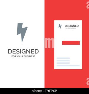 Twitter, Power, Media Grey Logo Design and Business Card Template - Stock Photo