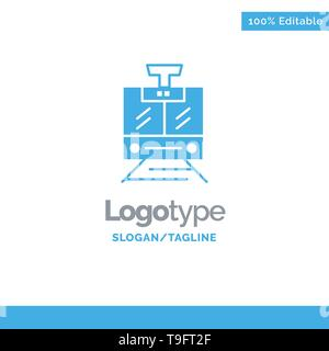 Train, Public, Service, Vehicle Blue Business Logo Template - Stock Photo