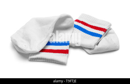 Two Red, White and Blue Striped Socks Isolated on White. - Stock Photo