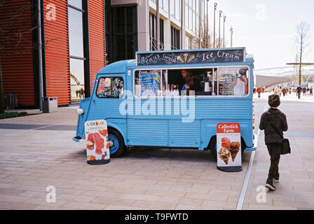 Retro ice cream van outside Westfield Shopping centre , Stratford, London, England, United Kingdom. - Stock Photo