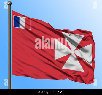 Wallis And Futuna flag waving in the deep blue sky background. Isolated national flag. Macro view shot. - Stock Photo