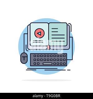 book, ebook, interactive, mobile, video Flat Color Icon Vector - Stock Photo