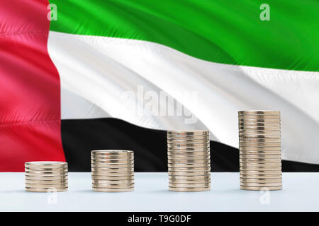 United Arab Emirates flag waving in the background with rows of coins for finance and business concept. Saving money. - Stock Photo