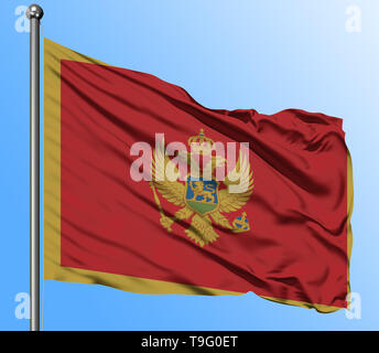 Montenegro flag waving in the deep blue sky background. Isolated national flag. Macro view shot. - Stock Photo