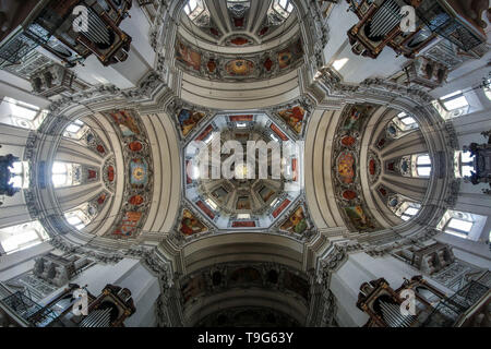 The nice paintings on the ceiling in the interior of the cathedral in Salzburg in Austria. - Stock Photo