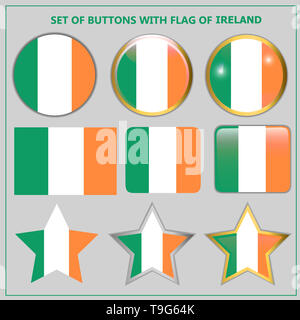 Set of banners with flag of Ireland. Colorful illustration with flags for web design. Illustration with grey background. - Stock Photo