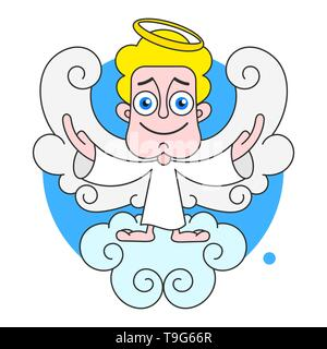 Angel On Cloud With Halo On Head Vector Illustration On White Background - Stock Photo