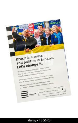 European election leaflet 2019 from Change UK. - Stock Photo