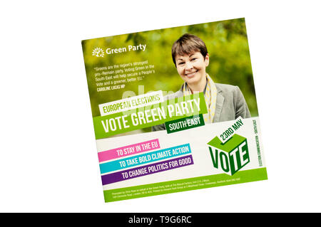 European election leaflet 2019 from the Green Party. - Stock Photo