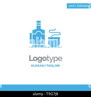 Tea, Cup, Hot, Hotel Blue Business Logo Template - Stock Photo